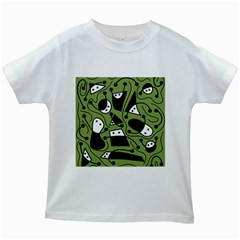 Playful abstract art - green Kids White T-Shirts