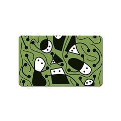 Playful abstract art - green Magnet (Name Card)