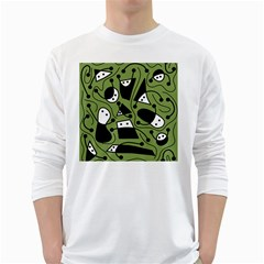 Playful abstract art - green White Long Sleeve T-Shirts