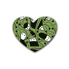 Playful abstract art - green Heart Coaster (4 pack)