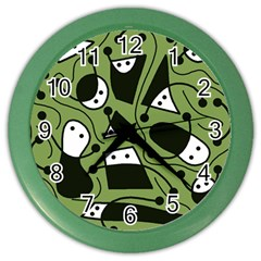 Playful abstract art - green Color Wall Clocks
