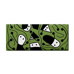 Playful abstract art - green Hand Towel