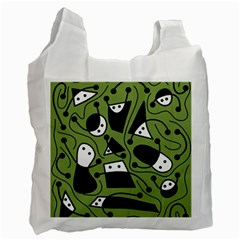 Playful abstract art - green Recycle Bag (One Side)
