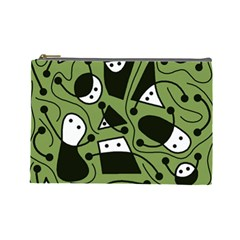 Playful abstract art - green Cosmetic Bag (Large)