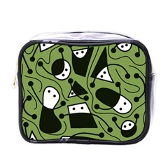 Playful abstract art - green Mini Toiletries Bags