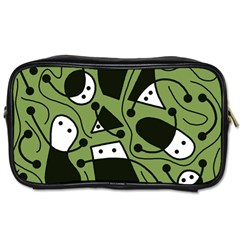Playful abstract art - green Toiletries Bags 2-Side