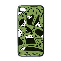 Playful abstract art - green Apple iPhone 4 Case (Black)