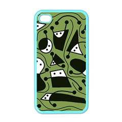 Playful abstract art - green Apple iPhone 4 Case (Color)