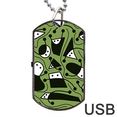 Playful abstract art - green Dog Tag USB Flash (One Side)