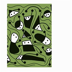 Playful abstract art - green Large Garden Flag (Two Sides)