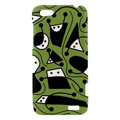 Playful abstract art - green HTC One V Hardshell Case