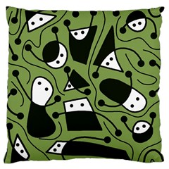 Playful abstract art - green Large Cushion Case (Two Sides)