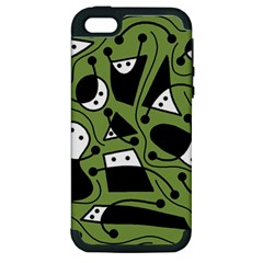 Playful abstract art - green Apple iPhone 5 Hardshell Case (PC+Silicone)