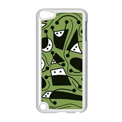 Playful abstract art - green Apple iPod Touch 5 Case (White)
