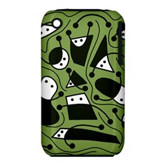 Playful abstract art - green Apple iPhone 3G/3GS Hardshell Case (PC+Silicone)