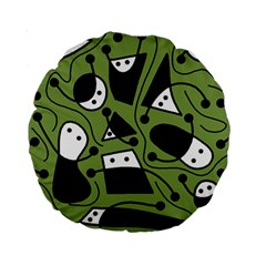 Playful abstract art - green Standard 15  Premium Round Cushions