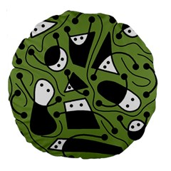 Playful abstract art - green Large 18  Premium Round Cushions