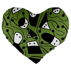 Playful abstract art - green Large 19  Premium Heart Shape Cushions