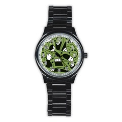 Playful abstract art - green Stainless Steel Round Watch