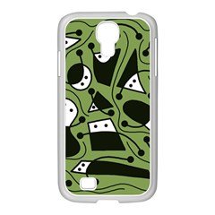 Playful abstract art - green Samsung GALAXY S4 I9500/ I9505 Case (White)