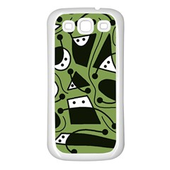 Playful abstract art - green Samsung Galaxy S3 Back Case (White)