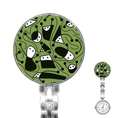 Playful abstract art - green Stainless Steel Nurses Watch