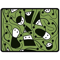 Playful abstract art - green Double Sided Fleece Blanket (Large)