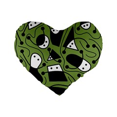 Playful abstract art - green Standard 16  Premium Flano Heart Shape Cushions