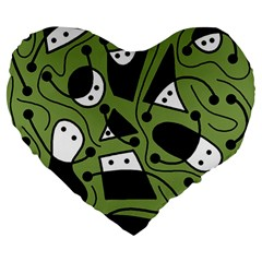 Playful abstract art - green Large 19  Premium Flano Heart Shape Cushions