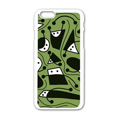 Playful abstract art - green Apple iPhone 6/6S White Enamel Case