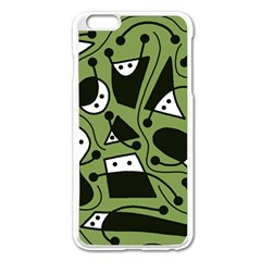Playful abstract art - green Apple iPhone 6 Plus/6S Plus Enamel White Case