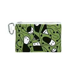 Playful abstract art - green Canvas Cosmetic Bag (S)