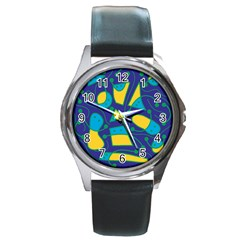 Playful abstract art - blue and yellow Round Metal Watch