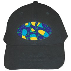 Playful abstract art - blue and yellow Black Cap