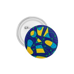 Playful abstract art - blue and yellow 1.75  Buttons