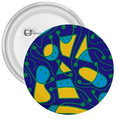 Playful abstract art - blue and yellow 3  Buttons