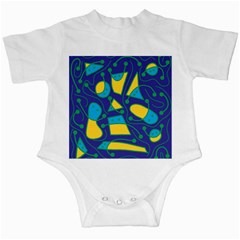 Playful abstract art - blue and yellow Infant Creepers