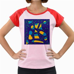 Playful abstract art - blue and yellow Women s Cap Sleeve T-Shirt