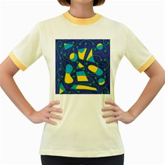 Playful abstract art - blue and yellow Women s Fitted Ringer T-Shirts