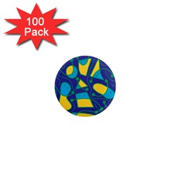Playful abstract art - blue and yellow 1  Mini Magnets (100 pack)