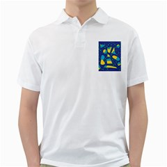 Playful abstract art - blue and yellow Golf Shirts