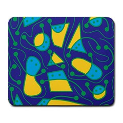 Playful abstract art - blue and yellow Large Mousepads