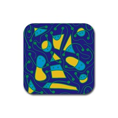 Playful abstract art - blue and yellow Rubber Square Coaster (4 pack)