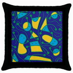 Playful abstract art - blue and yellow Throw Pillow Case (Black)