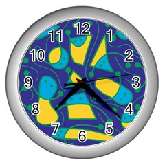 Playful abstract art - blue and yellow Wall Clocks (Silver)