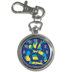 Playful abstract art - blue and yellow Key Chain Watches