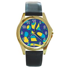Playful abstract art - blue and yellow Round Gold Metal Watch