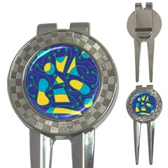 Playful abstract art - blue and yellow 3-in-1 Golf Divots
