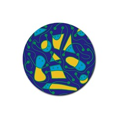 Playful abstract art - blue and yellow Rubber Coaster (Round)