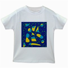 Playful abstract art - blue and yellow Kids White T-Shirts